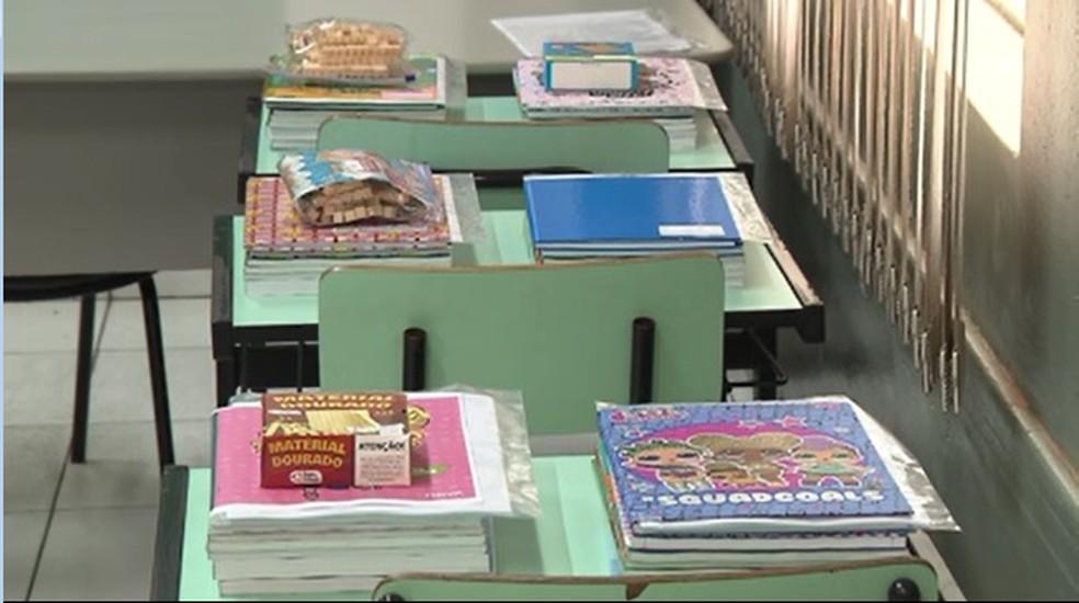 Material para crianças foi distribuído pelas escolas municipais de Londrina na pandemia — Foto: Reprodução/RPC