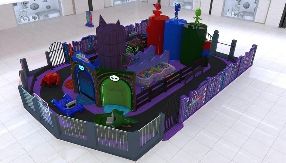 Estrutura interativa da animação infantil PJ Masks está montada no North Shopping Jóquei e é gratuita. — Foto: North Shopping Jóquei/ Divulgação