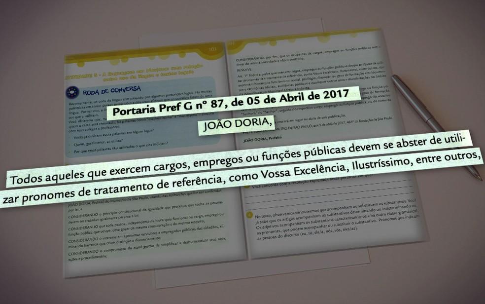 Arte mostra trecho de cartilha distribuída pela Prefeitura de São Paulo a alunos de escolas públicas (Foto: Reprodução/TV Globo)