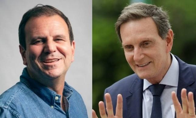 Os candidatos Eduardo Paes (DEM) e Marcelo Crivella (Republicanos)