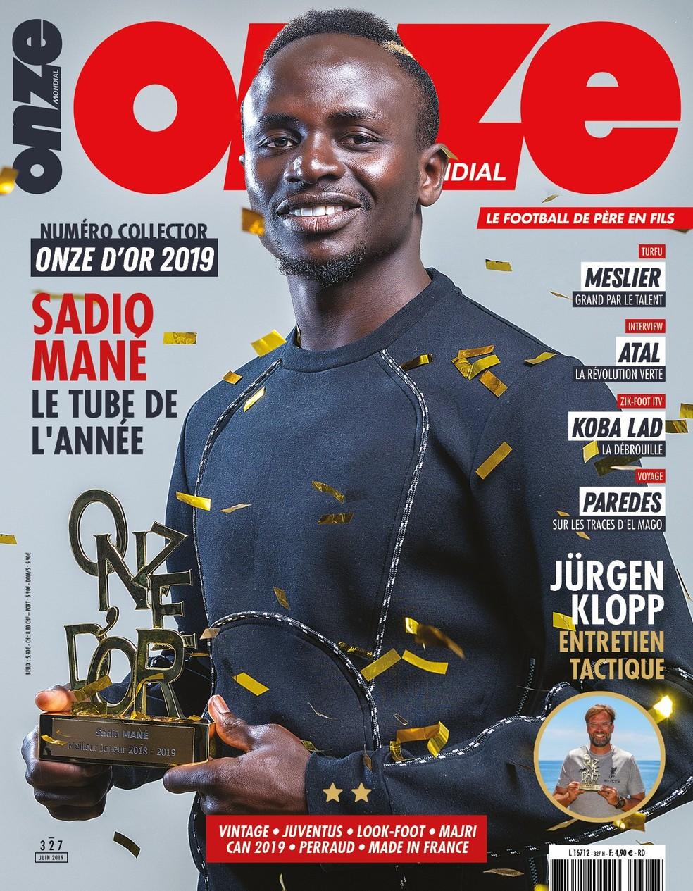Capa da revista francesa Onze Mondial com Sadio Mané ganhador do Onze D'Or — Foto: Reprodução