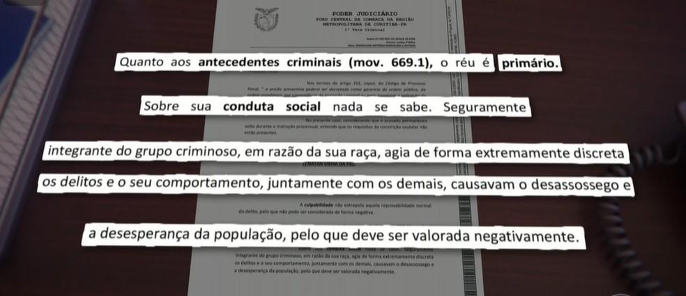 Juíza escreveu que réu era integrante de grupo criminoso por causa da sua raça, em Curitiba — Foto: Reprodução/TV Globo