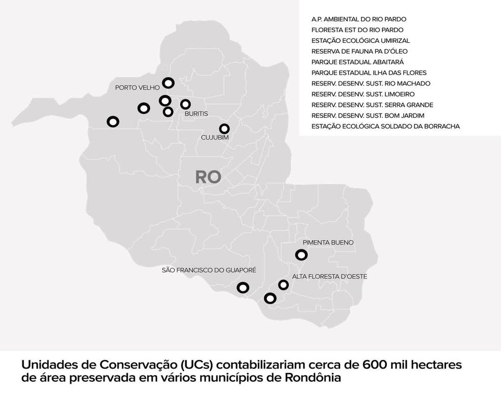 Mapa mostra onde unidades de conservações podem ser criadas em RO (Foto: Arte G1)