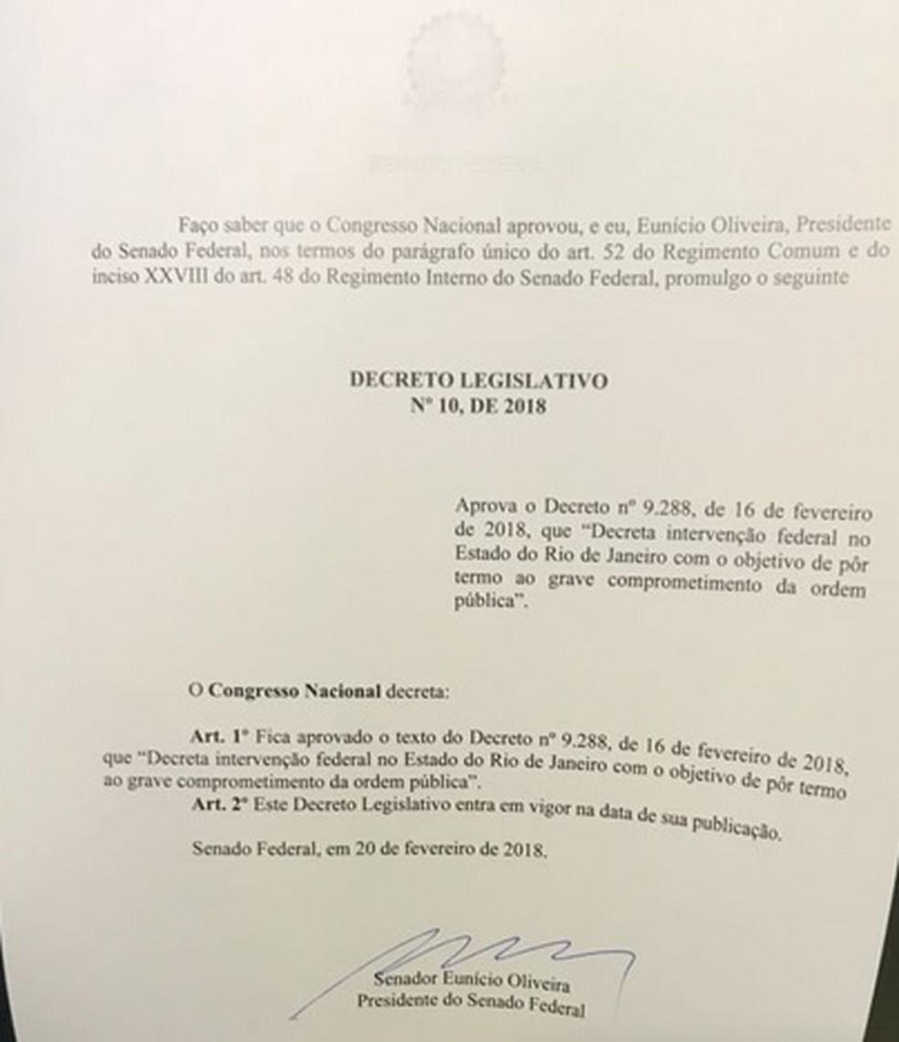 """Decreto que será publicado no """"Diário Oficial da União"""" (Foto: Reprodução)"""