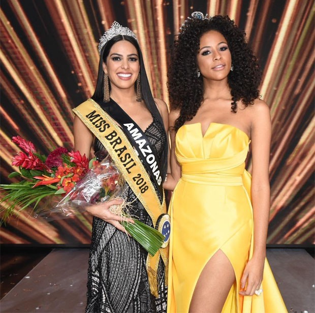 A Miss Amazonas e Miss Brasil 2018, Mayra Dias, e a Miss Brasil 2017, Monalysa Alcântara (Foto: Divulgação/Band)