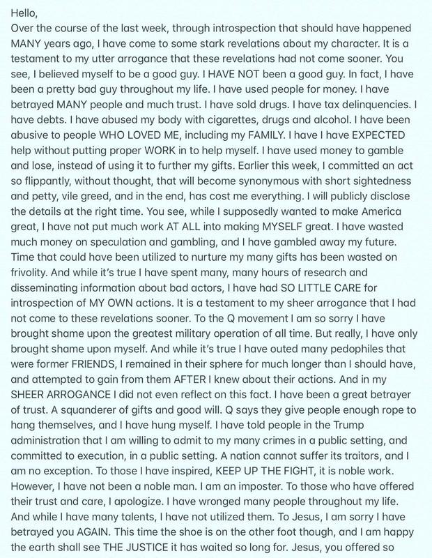 Carta de despedida do ator Isaac Kappy (Foto: Reprodução/Instagram)