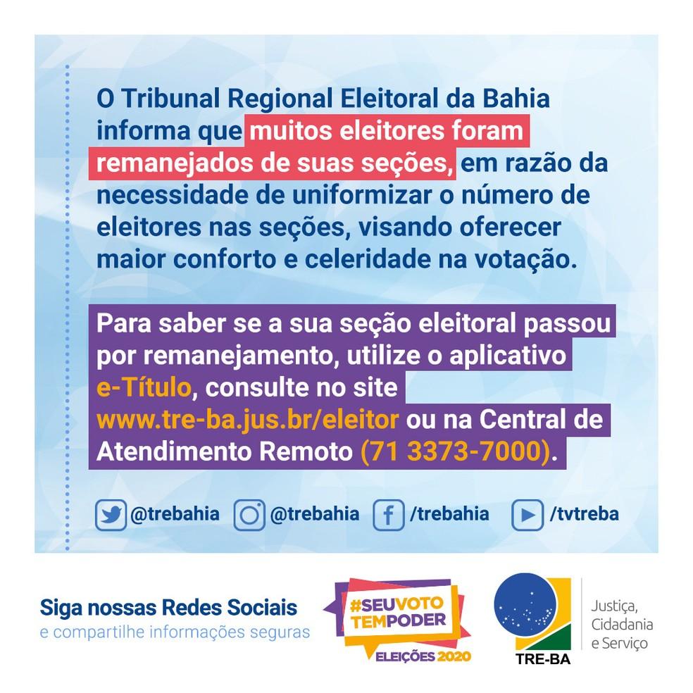 TRE-BA altera seções de votação de eleitores — Foto: Divulgação / TRE-BA