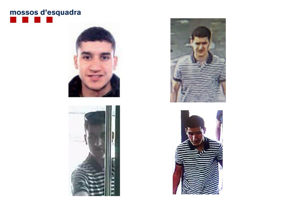 Younes Abouyaaqoub, suspeito de conduzir a van que atropelou pedestres na Rambla, em Barcelona (Foto: Reprodução/Twitter/Mossos)