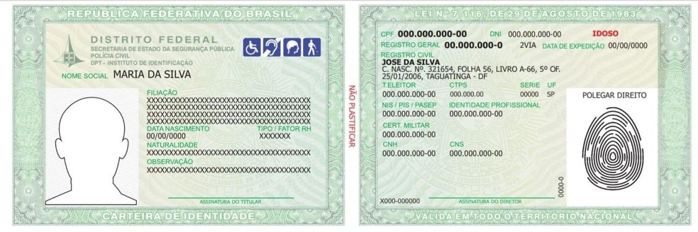 Novo modelo de carteira de identidade — Foto: Polícia Civil do DF/Divulgação