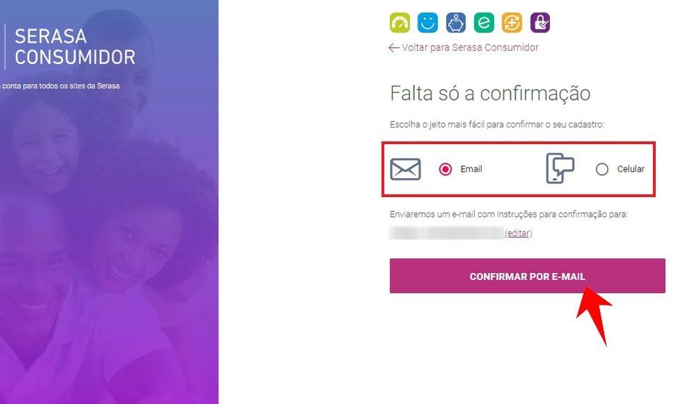 Envie a confirmação do cadastro no Serasa Consumidor por e-mail ou SMS — Foto: Reprodução/Rodrigo Fernandes