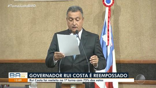 Governador Rui Costa é reempossado durante cerimônia em Salvador; veja entrevista