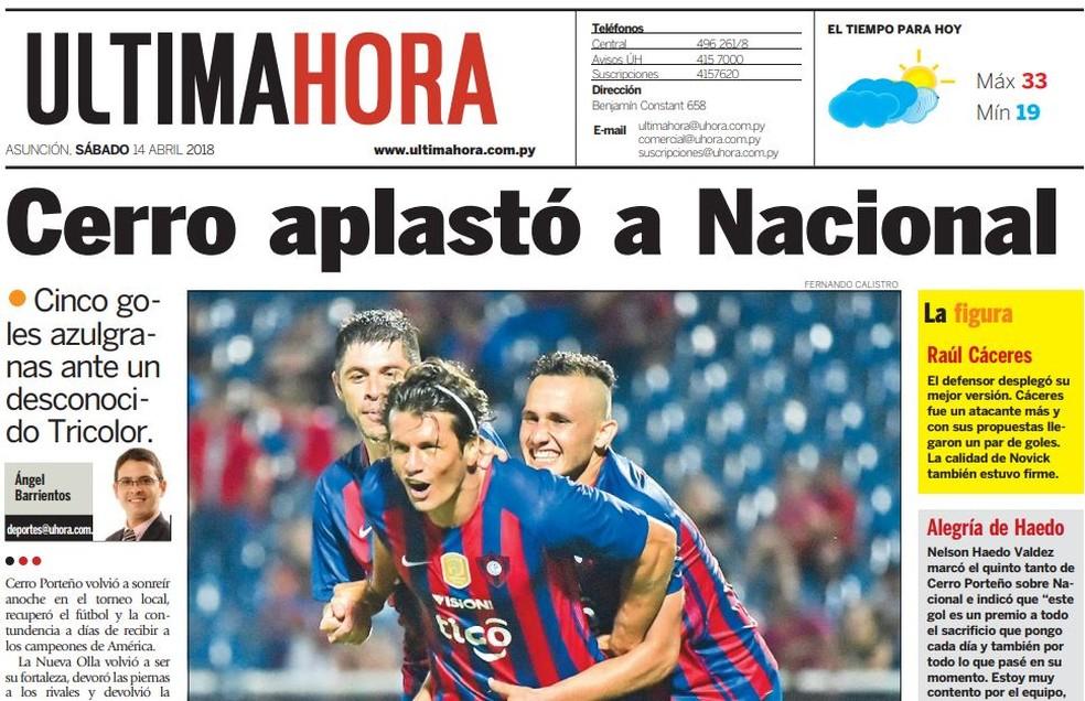 Jornal Última Hora destaca goleada sobre o Nacional por 5 a 0 (Foto: Reprodução )