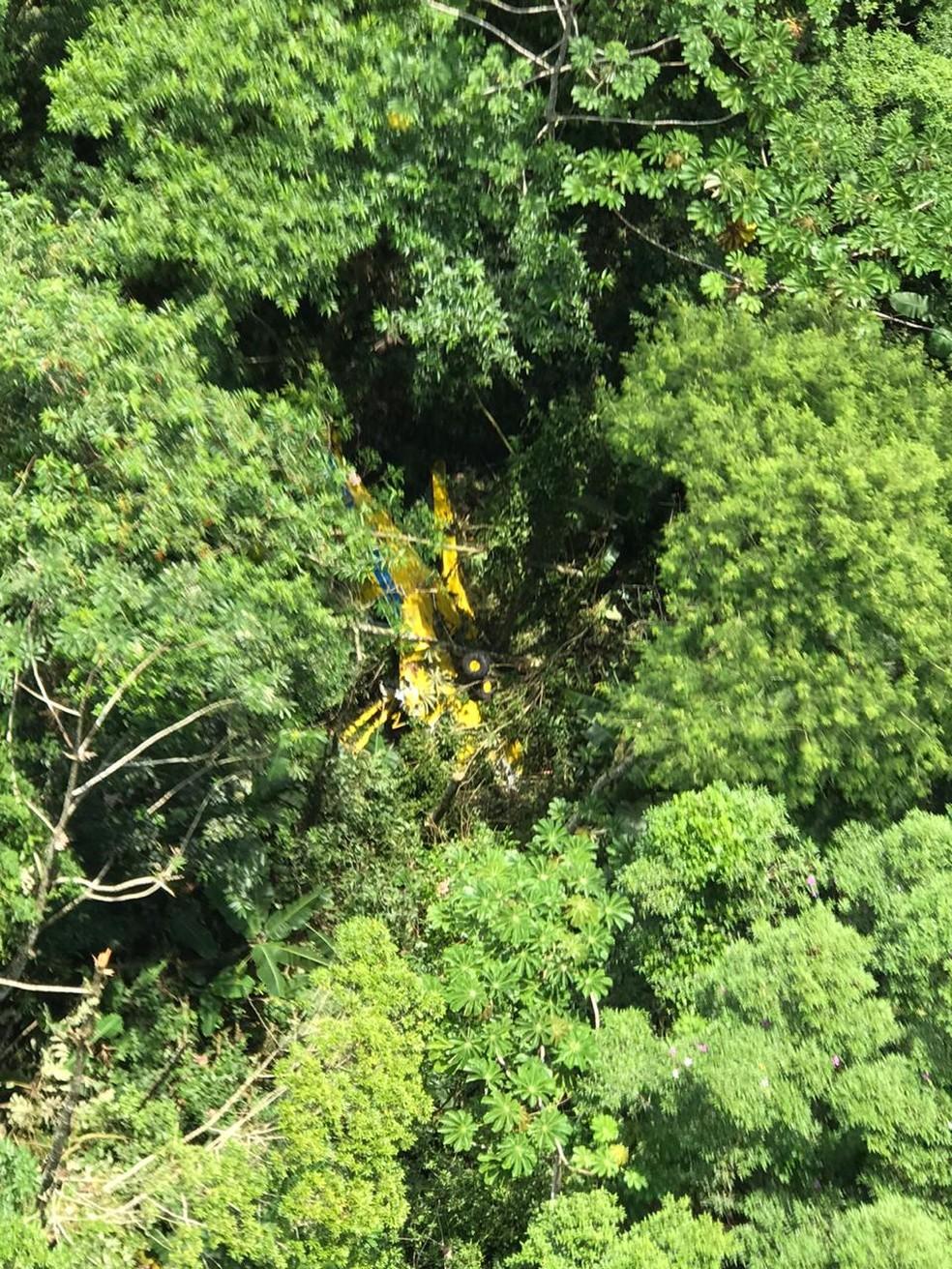 Piloto fica ferido após monomotor agrícola cair no interior de SP — Foto: Divulgação/Polícia Militar