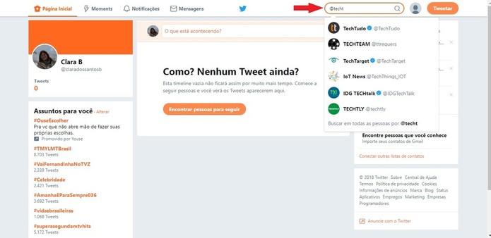 Com o seu Twitter, você pode seguir pessoas conhecidas ou famosas com apenas um clique (Foto: Reprodução/Clara Barreto)