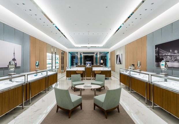Interior da nova loja da Tiffany&Co no Brasil: shopping JK (Foto: Massimo Falluti/Tiffany&Co./Divulgação)