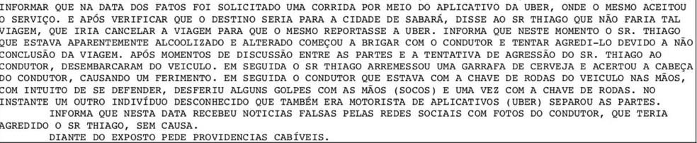 Boletim de ocorrência registra depoimento do motorista de aplicativo. — Foto: Polícia Militar/Reprodução