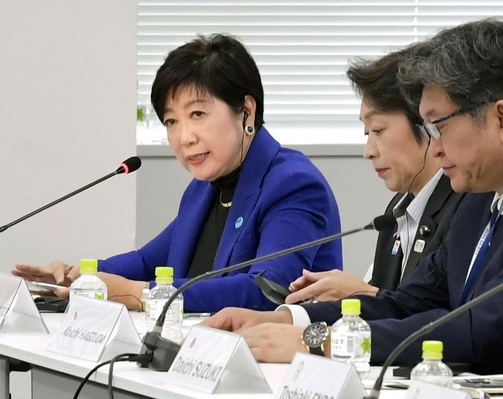 Governadora de Tóquio, Yurike Koike quer Olimpíadas simplificadas — Foto: Associated Press