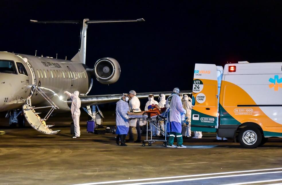 Paciente Manaus Covid-19 transferido Uberaba — Foto: André Santos/Prefeitura de Uberaba