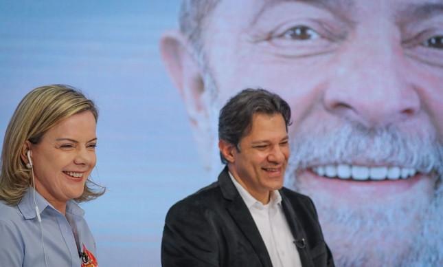 Gleisi Hoffmann e Fernando Haddad no #DebateComLula