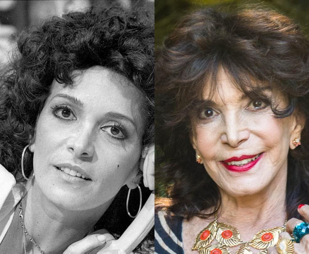 Lady Francisco em 'Pecado Rasgado', em 1979 e em 'Malhação: Vidas Brasileiras', 2018 — Foto: Acervo/TV Globo (esquerda) e Raquel Cunha/TV Globo (direita)