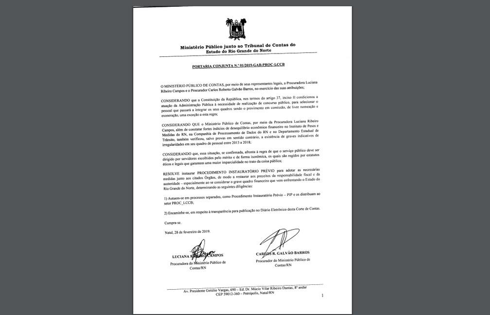 Portaria conjunta dos procuradores do Ministério Público de Contas sobre servidores comissionados de órgãos do RN — Foto: Reprodução