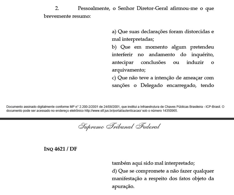 Despacho assinado pelo ministro Luís Roberto Barroso, do Supremo Tribunal Federal, relata teor de encontro com o diretor-geral da Polícia Federal, Fernando Segovia (Foto: Reprodução/Supremo Tribunal Federal)