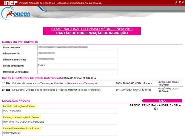 Cartão de confirmação do Enem mostra o local de provas dos candidatos (Foto: Reprodução/Inep)