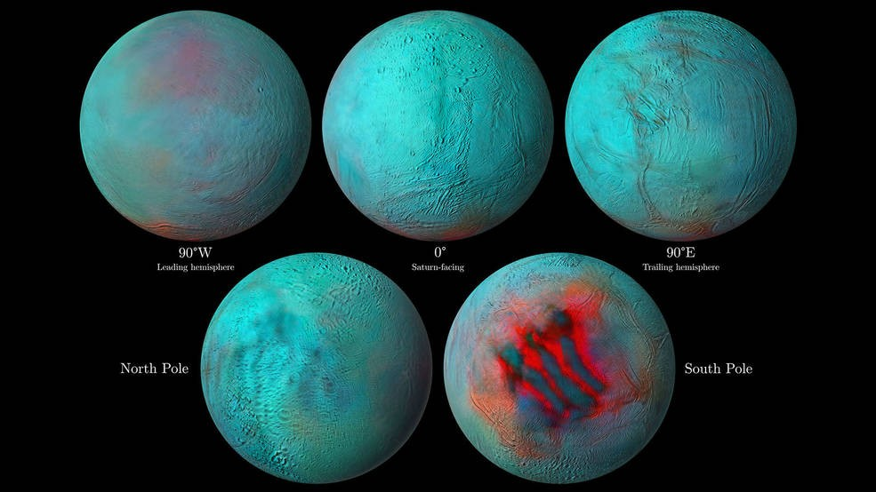 A Cassini capturou imagens infravermelhas de Encélado, uma das luas de Saturno (Foto: NASA/JPL-Caltech/University of Arizona/LPG/CNRS/University of Nantes/Space Science Institute)