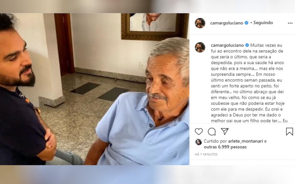Luciano posta em redes sociais após morte do pai Francisco Camargo Goiás — Foto: Reproduçã/Instagram