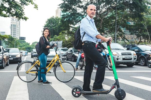 Bicicletas de aluguel agora têm a concorrência dos patinetes elétricos (Foto: Autoesporte)