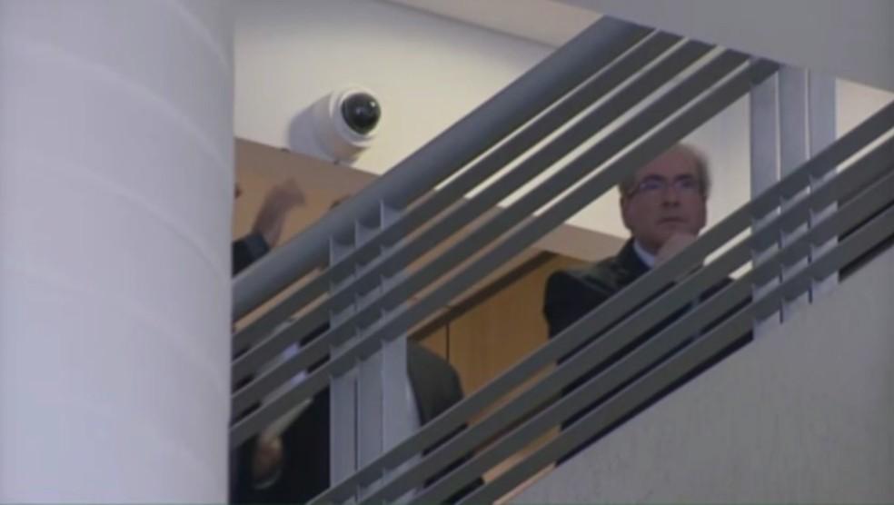 Eduardo Cunha prestou depoimento na PF, em Curitiba, no dia 14 de julho (Foto: Reprodução/ RPC Ciuritiba)