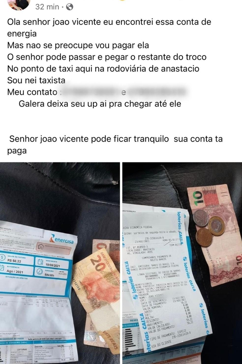 Taxista fez postagem para tentar localizar o dono da conta após pagá-la na lotérica em MS — Foto: Redes Sociais/Reprodução