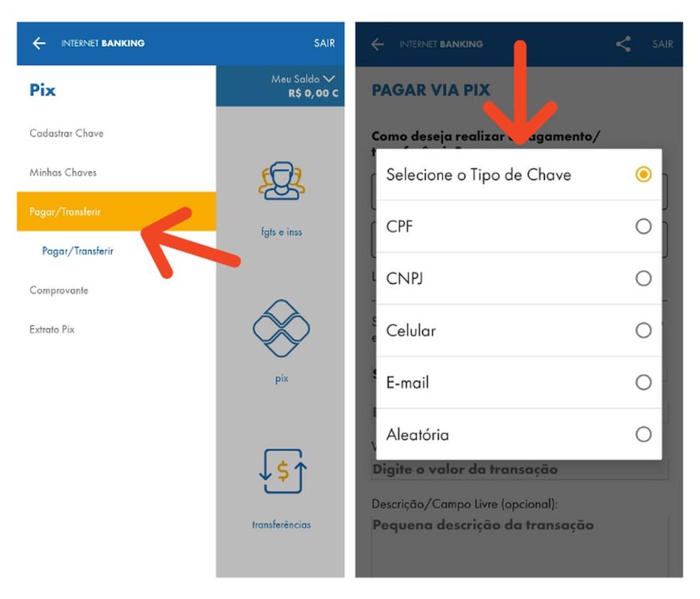 Transfira recurso ou realize pagamentos com o Pix na Caixa — Foto: Reprodução/Lívia Dâmaso
