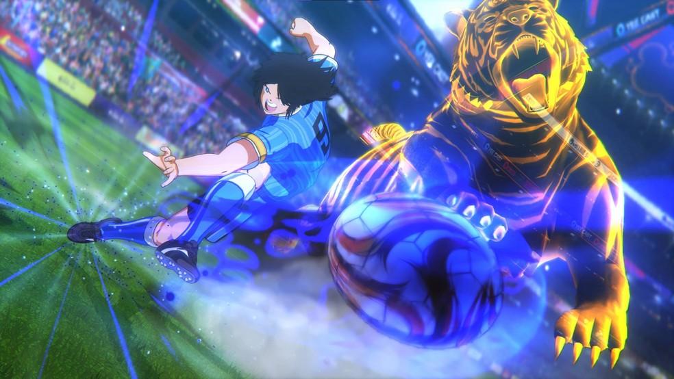 """Os chutes exagerados de """"Super Campeões"""" marcam presença em Captain Tsubasa: Rise of New Champions — Foto: Reprodução/Steam"""