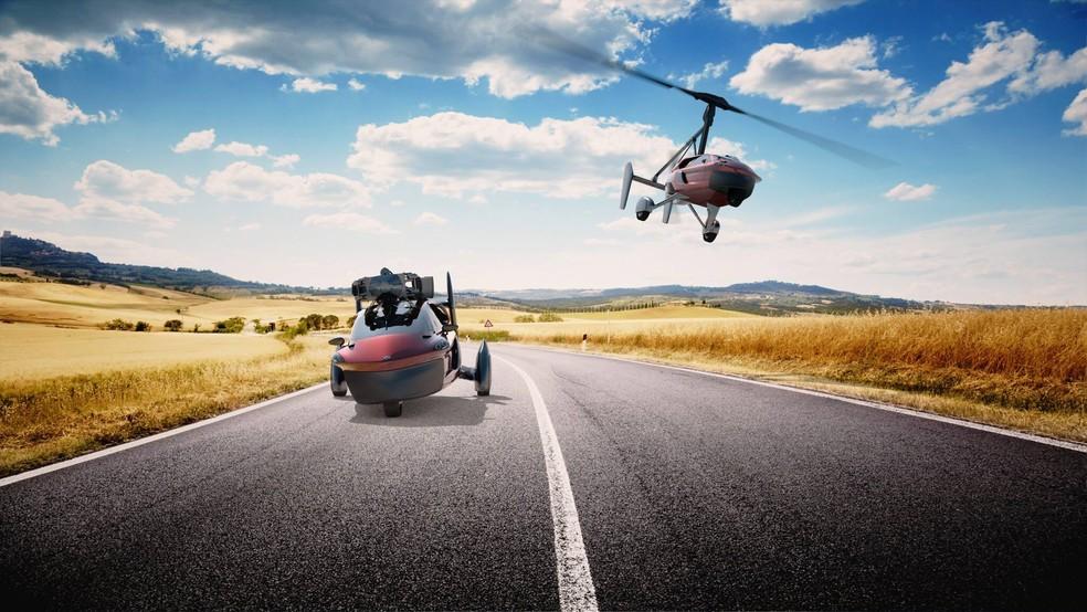 Carros voadores da empresa holandesa Pal-V — Foto: Divulgação