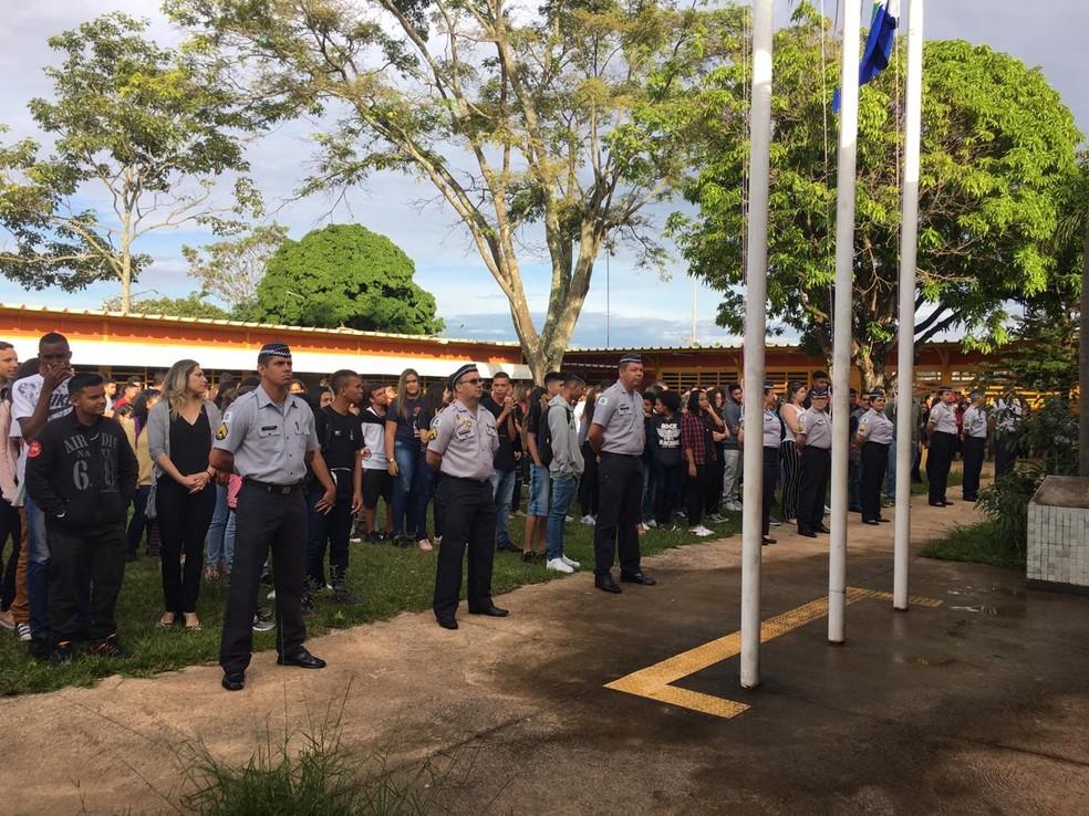 CED 7 de Ceilândia iniciou o ano letivo com a gestão compartilhada com a PM — Foto: Victor Gomes / G1DF