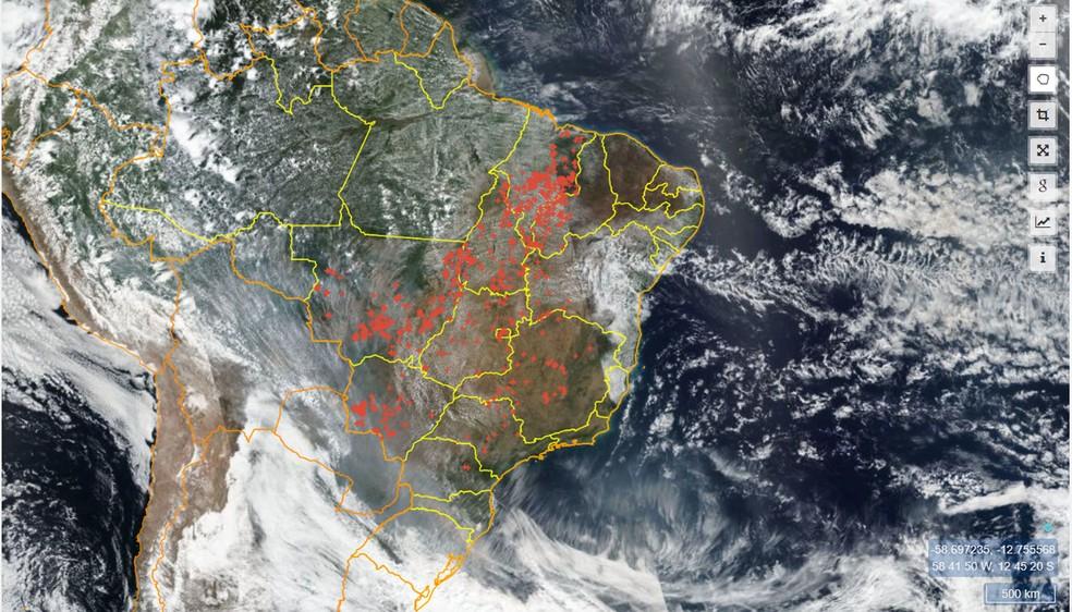 Focos de queimadas registrados pelo Inpe em 9 de setembro — Foto: Reprodução/Programa Queimadas
