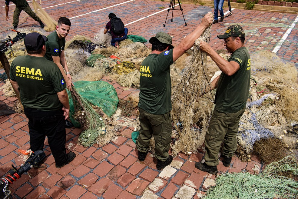 Sema apreendeu 4 toneladas de peixe durante piracema e apontou aumento nas apreensão de redes em Mato Grosso — Foto: Marcos Vergueiro/Secom-MT