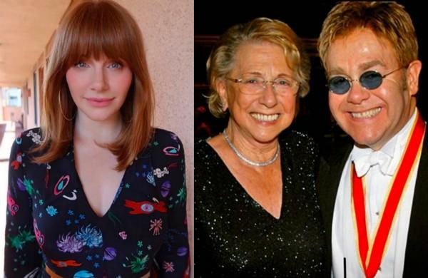 A atriz Bryce Dallas Howard e o cantor Elton John com a mãe (Foto: Instagram)