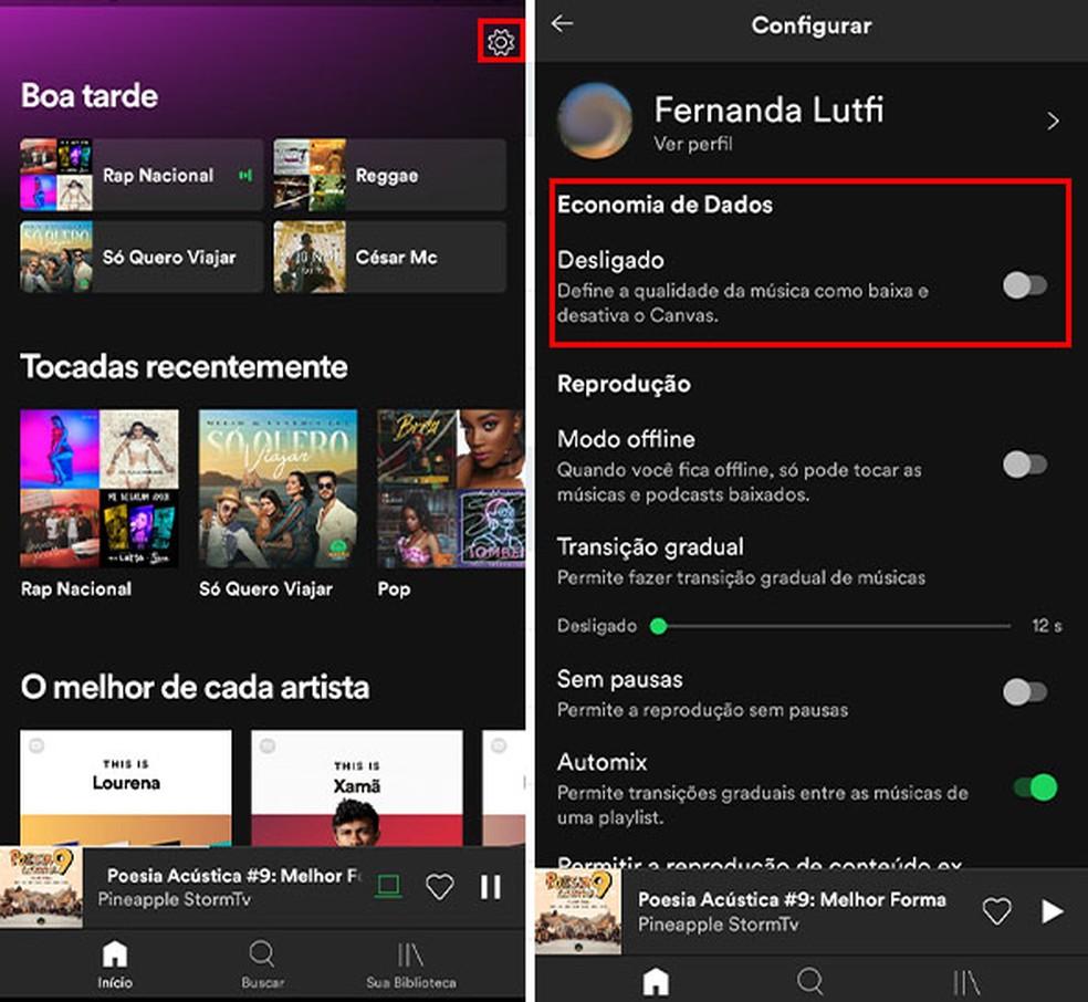 No Spotify, o modo de economia de dados define a qualidade da música como baixa — Foto: Reprodução/Fernanda Lutfi