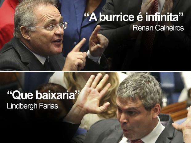Aspas de Renan Calheiros e Lindbergh Farias em bate-boca no Senado (Foto: André Dusek/Estadão Conteúdo)