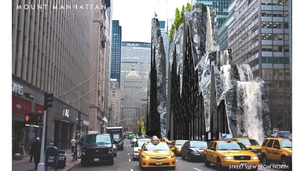 Outro projeto finalista inclui um enorme edifício montanhoso que escoa água como uma cachoeira (Foto: Divulgação/The Fisher Brothers/Beyond The Park Avenue Centerline Contest)