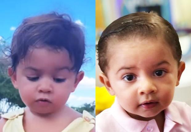 Antes e depois de Léo, filho de Marília Mendonça e Murilo Huff, que cortou o cabelo pela primeira vez (Foto: Reprodução/Instagram)