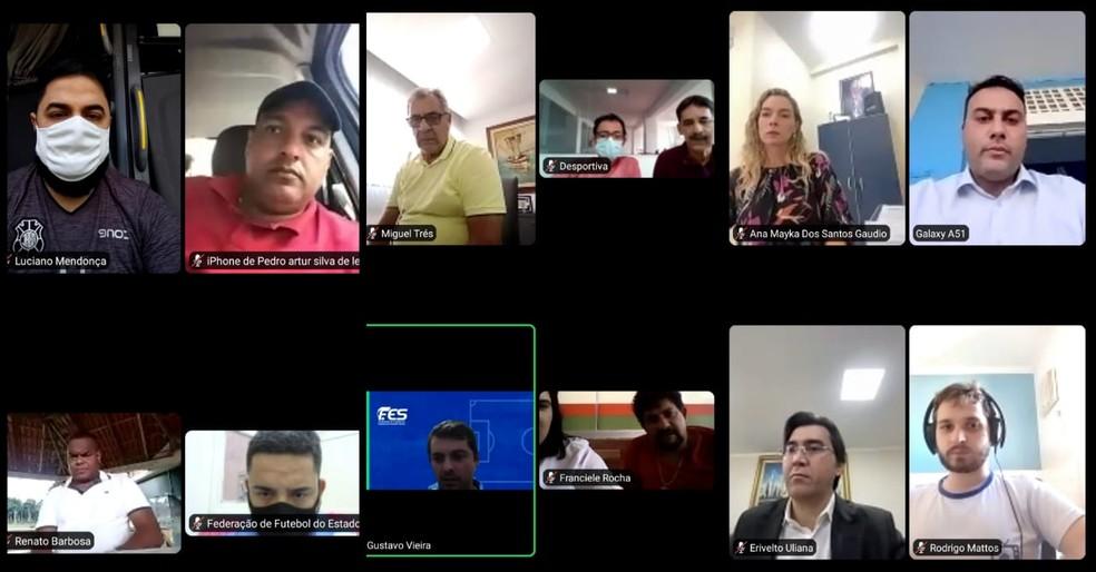 Reunião virtual com os representantes dos clubes participantes do Capixaba 2021 — Foto: Divulgação