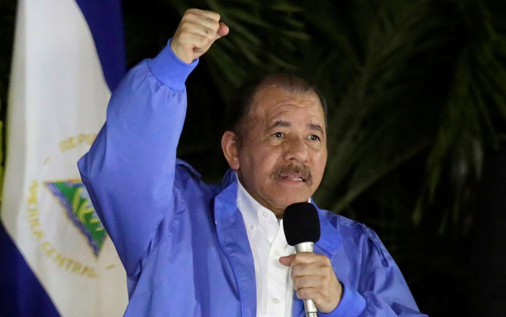 O presidente da Nicaragua, Daniel Ortega, durante discurso para representantes da Aliança Bolivariana para os Povos da América (ALBA), em Manágua, na quinta-feira (8) — Foto: Reuters/Jorge Cabrera