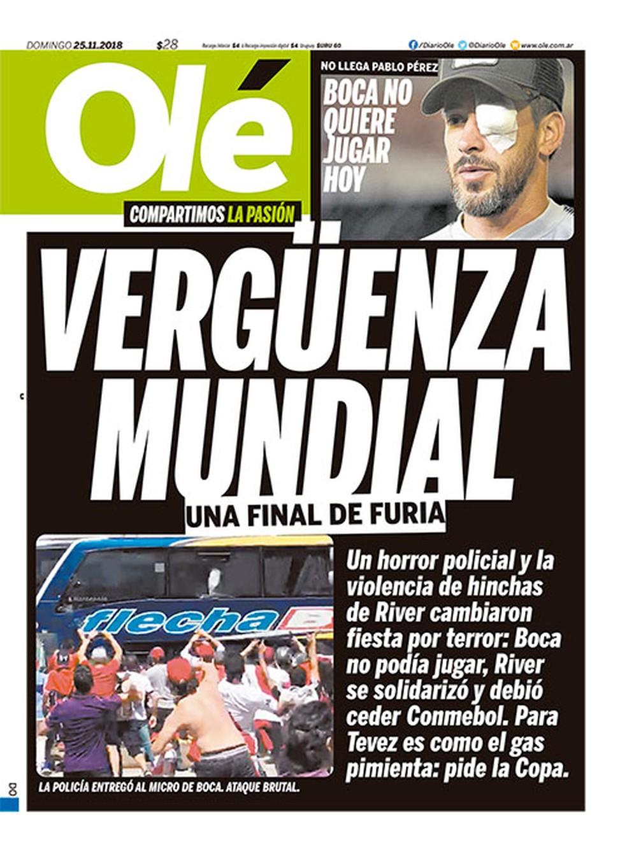 """O diário esportivo """"Olé"""" classificou o ocorrido como """"vergonha mundial"""" — Foto: Reprodução/Olé"""