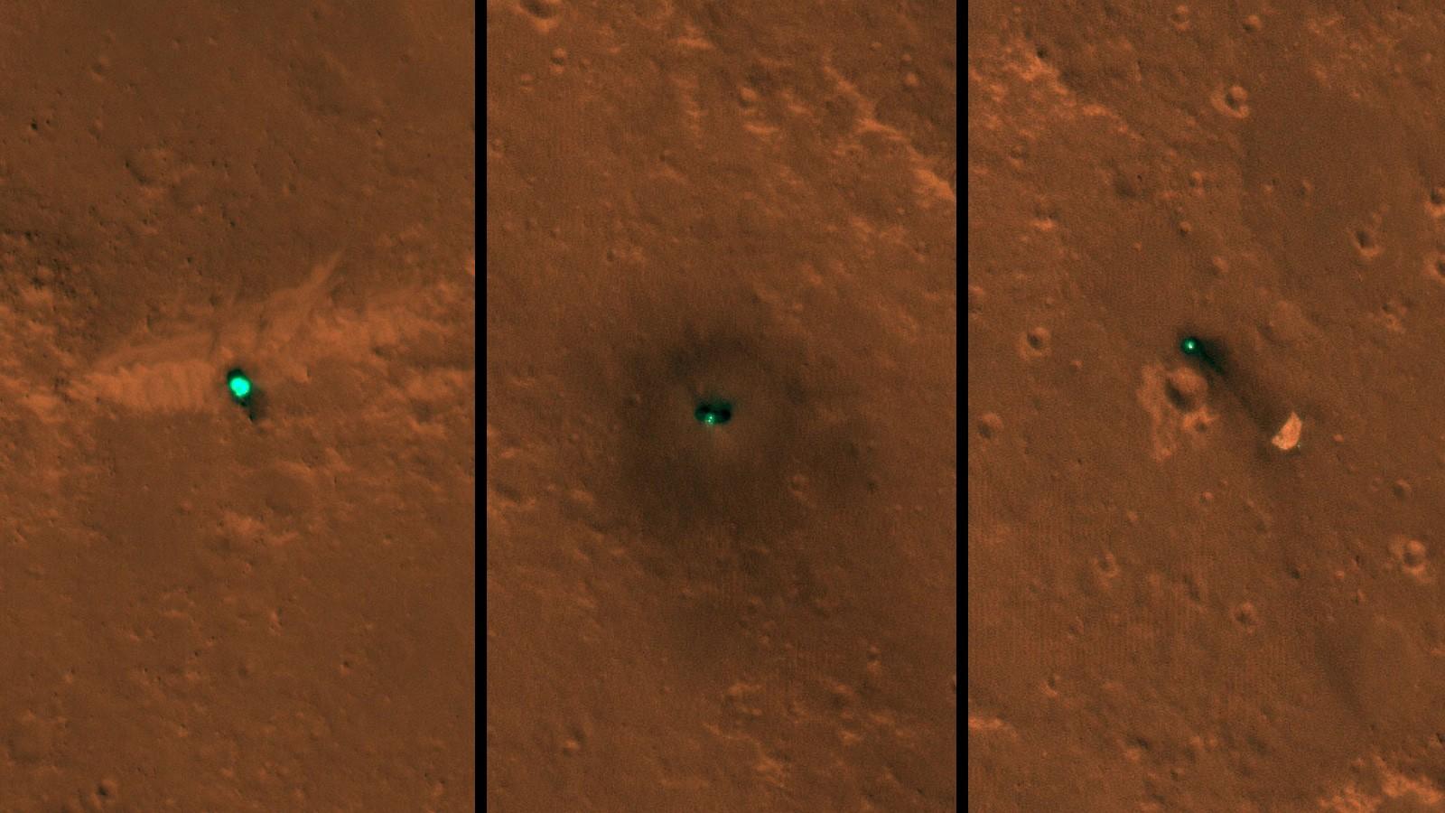 Imagens da MRO mostram a sonda InSight da NASA vista do espaço (Foto: NASA/JPL-Caltech/University of Arizona)