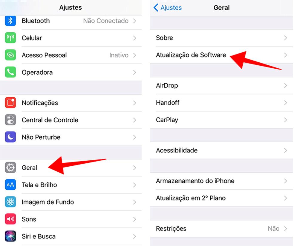 Acesse o menu de atualização nas configurações do iPhone (Foto: Reprodução/Paulo Alves)