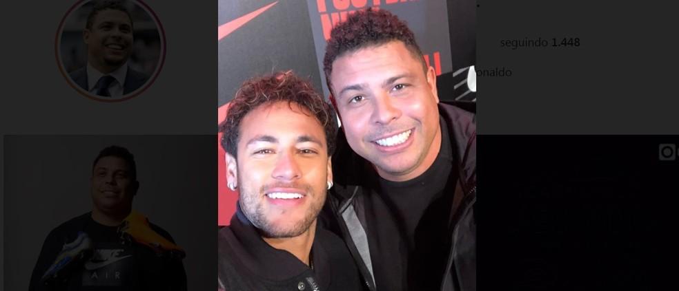 Neymar e Ronaldo, em evento de lançamento da chuteira em Londres (Foto: Reprodução/Instagram)