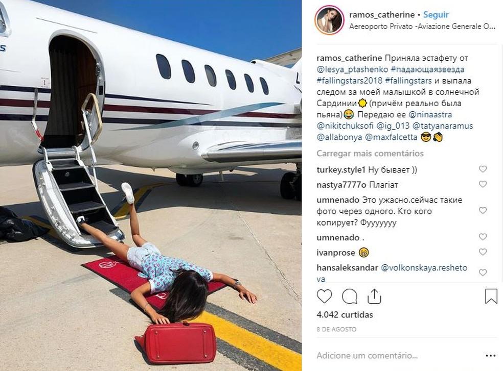 Esta teria sido uma das primeiras fotos a viralizar no Instagram com o desafio Falling Stars — Foto: Reprodução/Instagram (ramos_catherine)